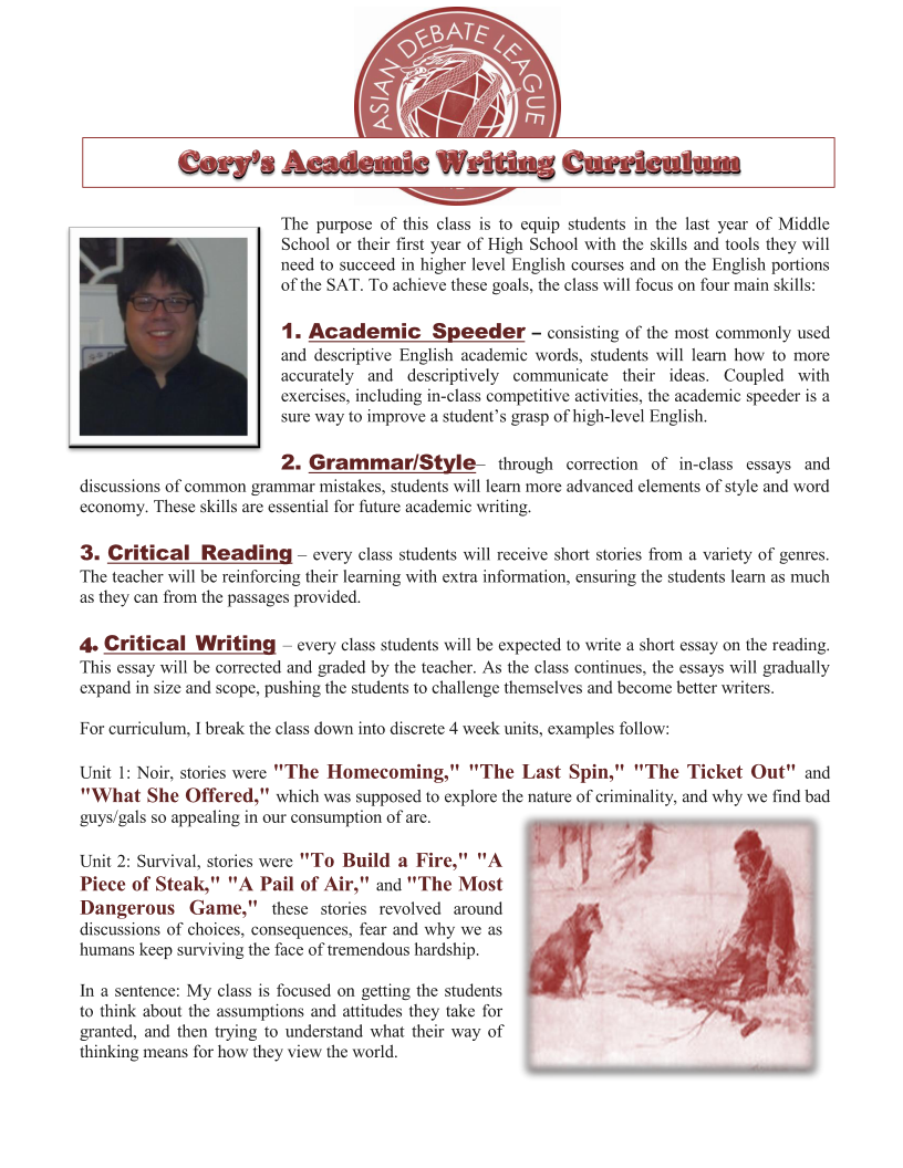 Academic Writing For Middle School Students  Asian Debate League  Corys Writing Curriculumpage